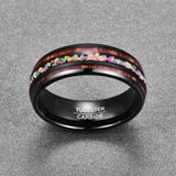 Black Acacia Wood Opal Tungsten Carbide Ring - Olafo's