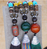 Nepal Long Tassel Wood Beads Necklace - Olafo's