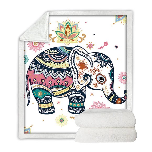 Velvet Plush Throw Blanket Rainbow Elephant - Olafo's