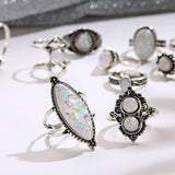 Vintage Bohemian Opal Antique Silver Knuckle Rings Set - Olafo's