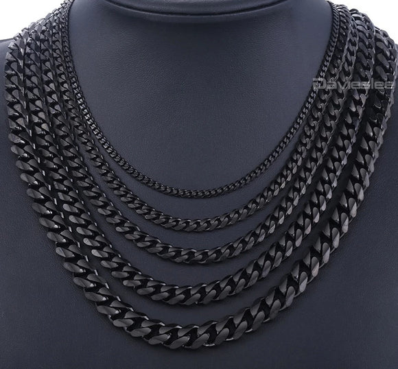 Black Stainless Steel Cuban Curb Link Chains Necklace for Men - Olafo's