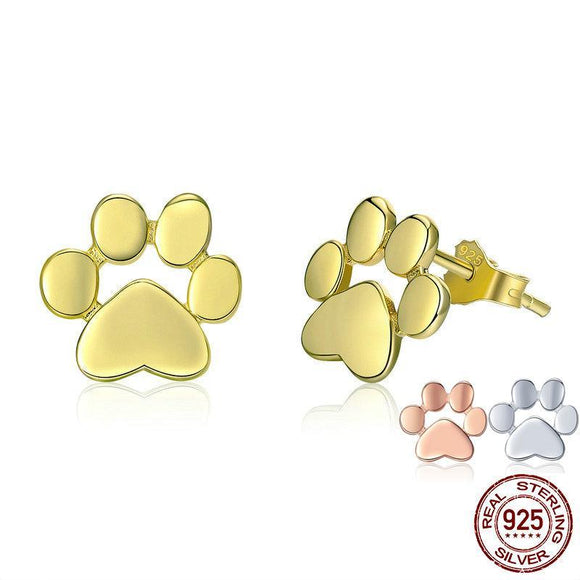 Earrings Dog Cat 925 Sterling Silver Paw Print Studs - Olafo's