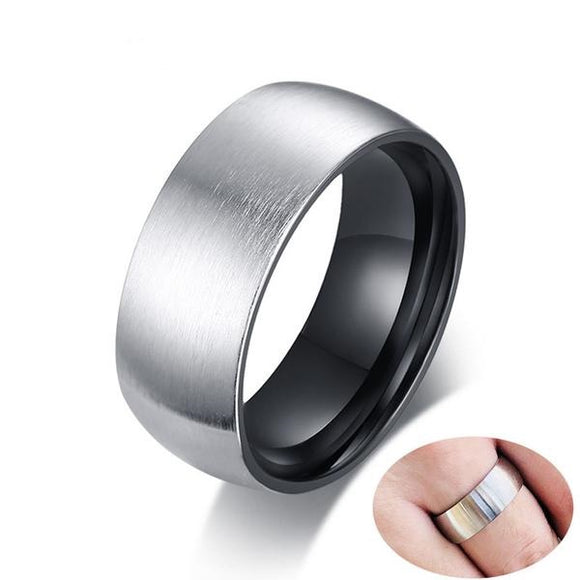 Brushed Silver Stainless Steel 8mm Wide Ring Wedding Band - Olafo's