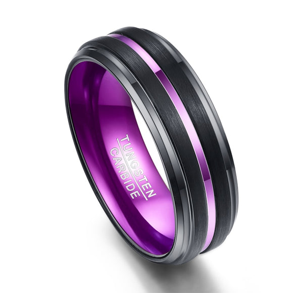 Purple Groove Matte Black Tungsten Carbide Ring - Olafo's