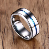 Blue Groove on Black or Silver Stainless Steel Ring - Olafo's