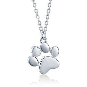 Paw Print 925 Sterling Silver Dog or Cat Pendant Necklace - Olafo's