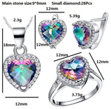 Topaz Heart Jewelry Set 925 Sterling Silver Eternal Love Ring, Earrings and Pendant - Olafo's