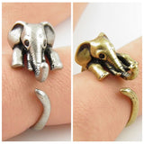 Elephant Hug Ring in Antique Silver or Bronze - Olafo's
