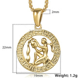 Zodiac Sign Gold Pendant Necklace 12 Constellations Horoscope - Olafo's