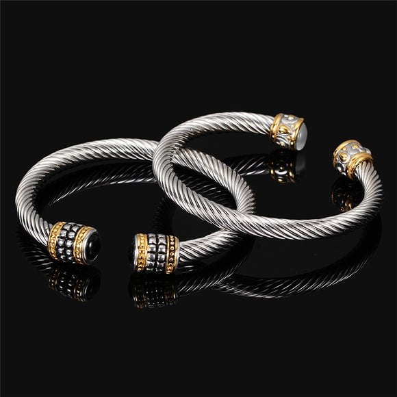 Twisted Stainless Steel Cable Wire Bangle - Olafo's