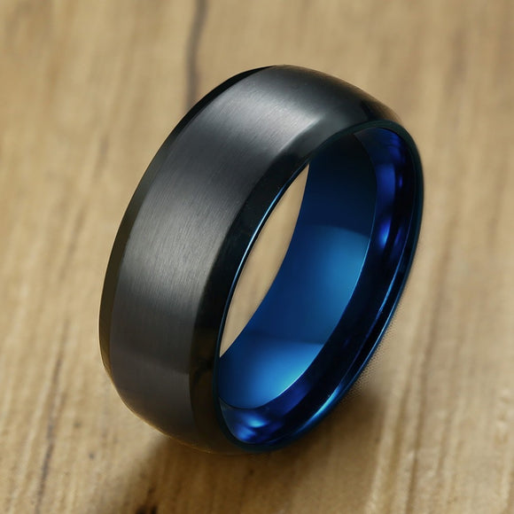 Stainless Steel Engagement Ring For Men Black Blue Color - Olafo's