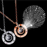 "100 languages ""I love you"" Projection Pendant Necklace - Olafo's"