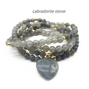 Natural Stone Beads Bracelet/Necklace With Heart Charm - Olafo's