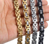 Gold Silver Byzantine Stainless Steel Link Chain Men's Bracelet - Olafo's