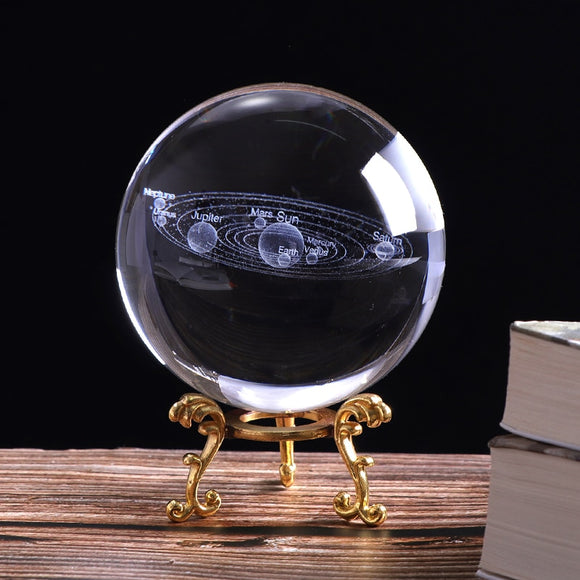 3D Solar System Planets Crystal Ball 3D Laser Engraved - Olafo's