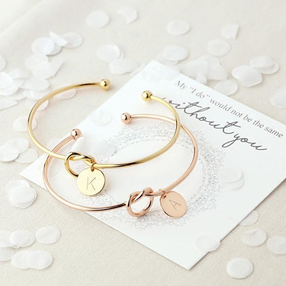 Initial Letter Personalized Knot Bangle Bracelet Rose Gold, Gold or Silver - Olafo's