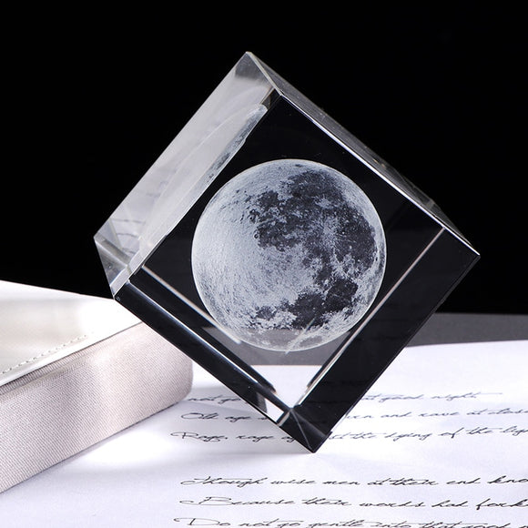 3D Laser Engraved Moon Crystal Cube Ornament - Olafo's