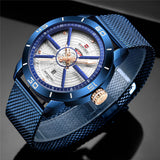 Men's Top Brand Luxury Sports Watch Stainless Steel Mesh Date Week Waterproof Quartz Movement - Olafo's