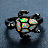 Fire Opal Ring Sea Turtle Ring Black Gold Filled - Olafo's