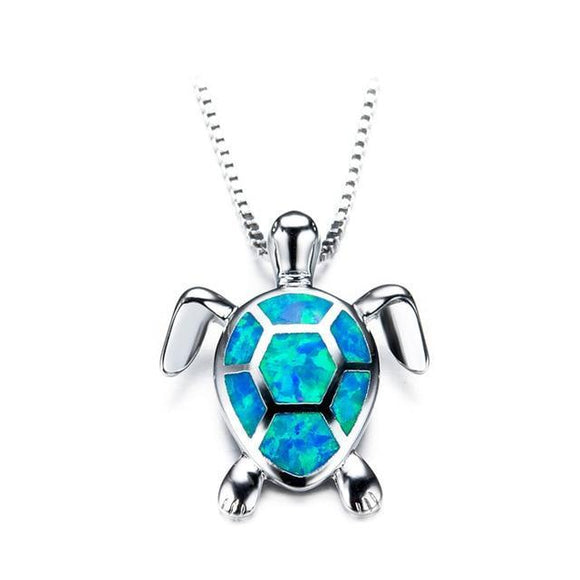 Sea Turtle 925 Sterling Silver Fire Opal Pendant Necklace - Olafo's