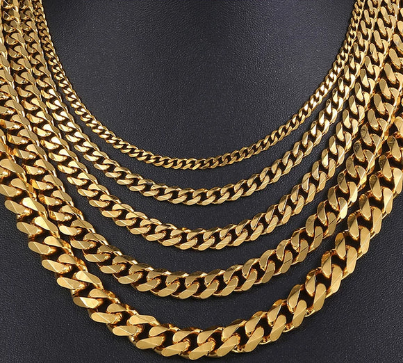 Men's Necklace Gold Stainless Steel Cuban Link Chain - Olafo's