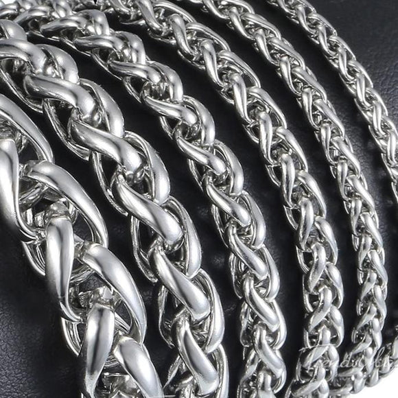 Stainless Steel Silver Wheat Link Bracelet