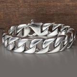 14mm Men's Heavy Bracelet Silver 316L Pure Stainless Steel Round Curb Cuban Link - Olafo's