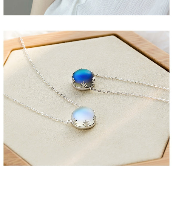 Aurora Borealis Pendant Necklace Halo Crystal Gemstone 925 Sterling Silver Chain - Olafo's