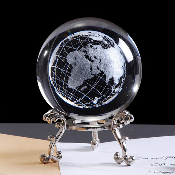 Globe Map 3D Crystal Earth Ball Laser Engraved - Olafo's