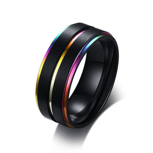 Rainbow Rings Stainless Steel 8mm Wide - Olafo's