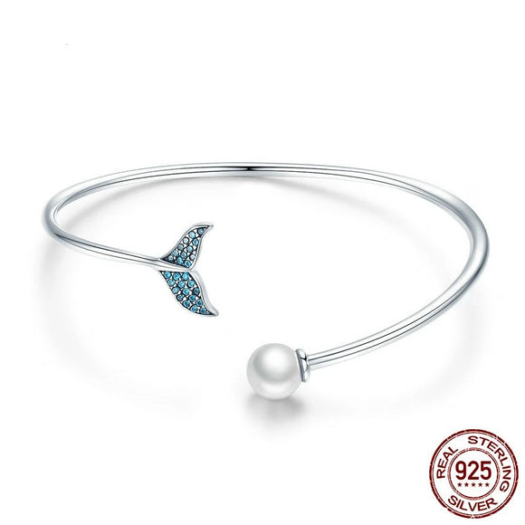 Mermaid Whale Tail Bangle Bracelet 925 Sterling Silver & Pearl Blue Cubic Zircon - Olafo's