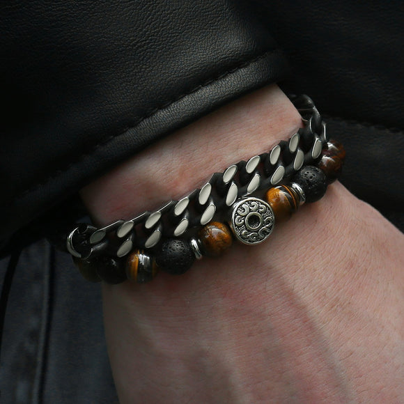 Natural Tiger Eye Stone Men's Beaded Bracelet Stainless Steel Cuban Link Chain Bracelet - Olafo's