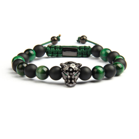 Leopard CZ Natural Matte Onyx & Green Tiger Eye Stone Dog Bracelet - Olafo's