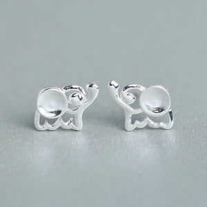 925 Sterling Silver Jewelry Tiny Elephant Stud Earrings - Olafo's