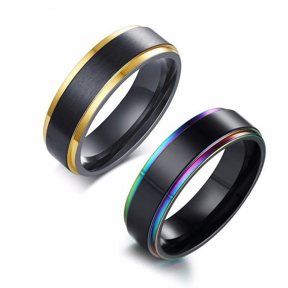 Brushed Rainbow or Gold Ring Stainless Steel - Olafo's