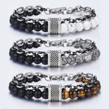 Natural Stone Stainless Steel Men's Beaded Bracelet - Olafo's