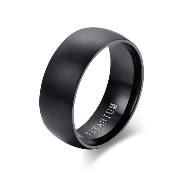 Black Titanium Ring Matte Finished Classic Wedding Band - Olafo's