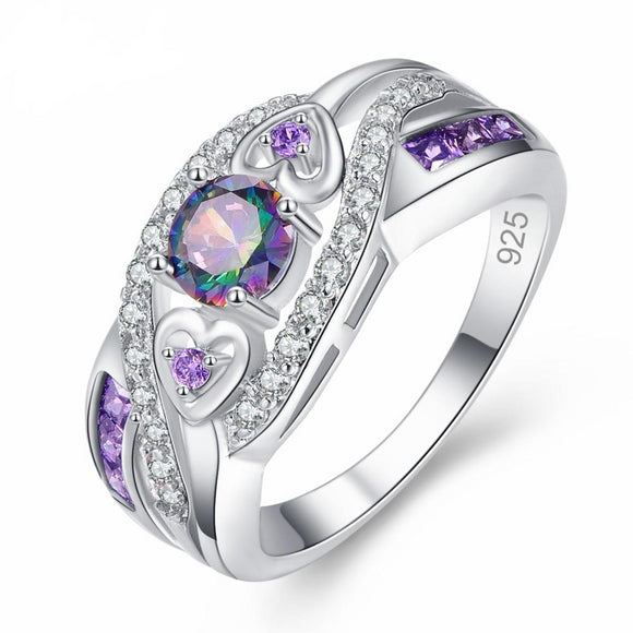 Rainbow and Amethyst Purple Topaz Cubic Zircon 925 Sterling Silver Ring - Olafo's
