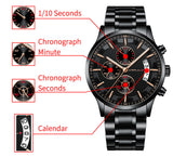 CRRJU Waterproof Sports Mens Watch Chronograph Stainless Steel  Strap - Olafo's