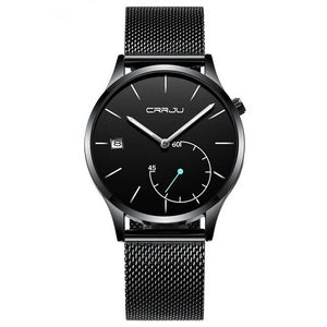 CRRJU Casual Mens Quartz Movement Slim Profile Mesh Stainless Steel Strap - Olafo's