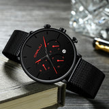 CRRJU Mens Sport Watch Quartz Movement Stainless Steel Strap Waterpoof - Olafo's
