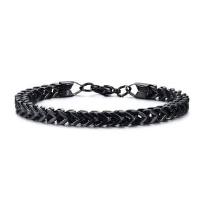 Stainless Steel Foxtail Double Link Chain Bracelet for Men - Olafo's