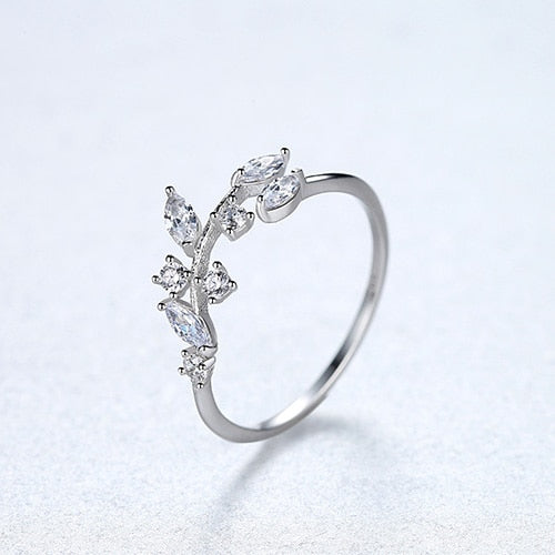 925 Sterling Silver Handmade Olive Leaf Ring CZ Stone - Olafo's