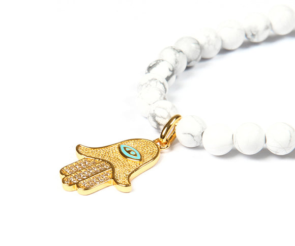Natural White Howlite Marble Stone Beaded Hamsa Hand of Fatima Necklace - Olafo's