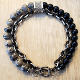 Natural Stone+Stainless Steel Men's Beaded Bracelet - Olafo's