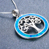 Blue Fire Opal Tree of Life 925 Sterling Silver Pendant - Olafo's
