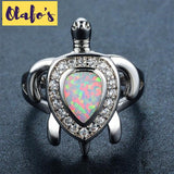 White Fire Opal Sea Turtle Ring Ring White Gold Filled - Olafo's