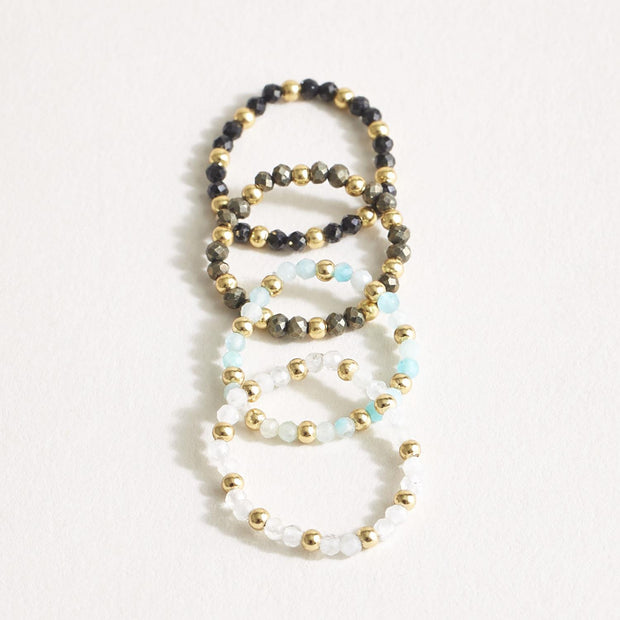 Set of 4 Stretch Bead Rings - Includes 4 Colors