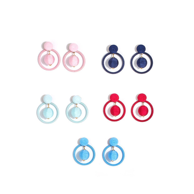 2 in 1 Hoop Ball Drop Earrings