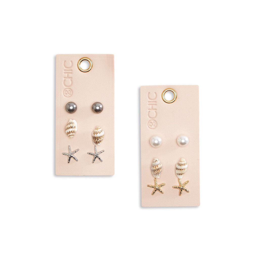 Stud Earrings - Set of Three - piper-and-dune - Jewelry